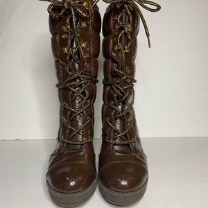 Baby Phat brown puffy heeled boots